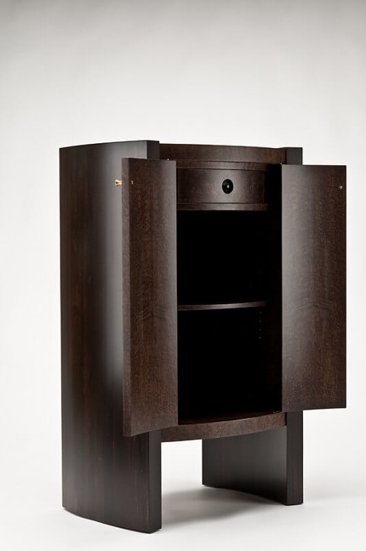 bowed front cabinet - doors open