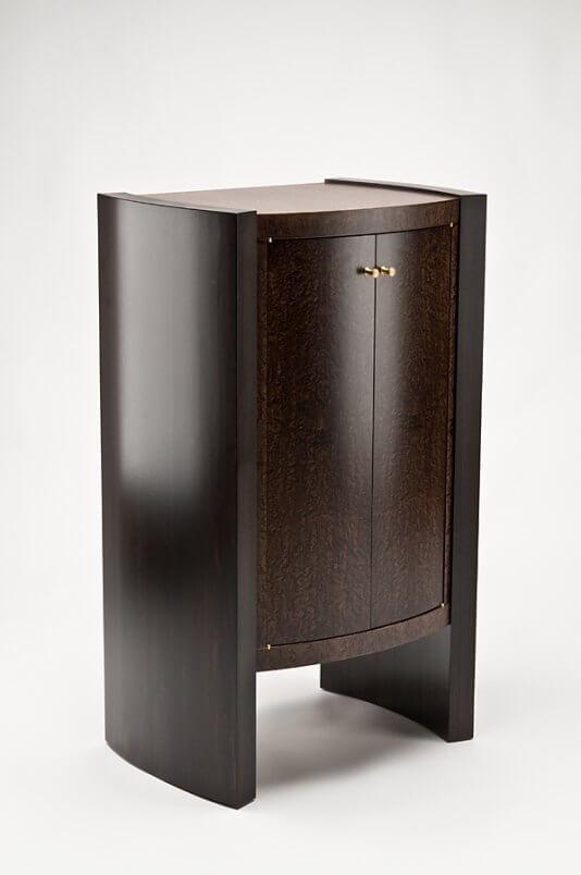 Kurve studio bowed front liquor cabinet for Catalyzed lacquer kitchen cabinets