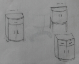 three pencil sketches of cabinets