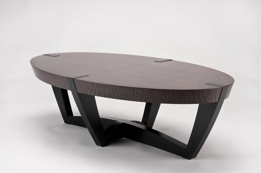 kurve studio elliptical coffee table western maple charcoal grey. Black Bedroom Furniture Sets. Home Design Ideas