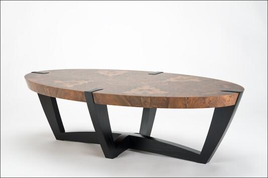 kurve studio elliptical coffee table claro walnut burl top black walnut trim ebonized ash legs. Black Bedroom Furniture Sets. Home Design Ideas