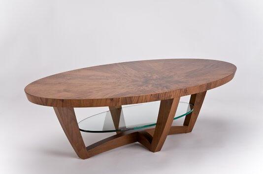 kurve studio sunburst elliptical coffee table. Black Bedroom Furniture Sets. Home Design Ideas