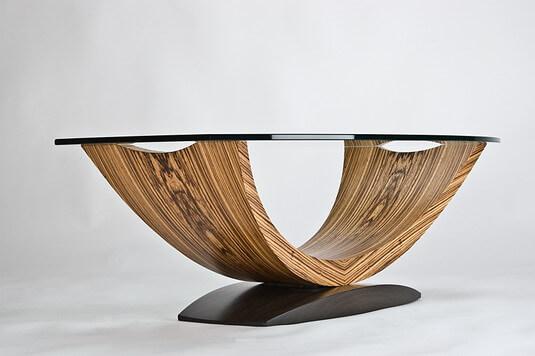kurve studio arc coffee table zebrano santos mahogany. Black Bedroom Furniture Sets. Home Design Ideas
