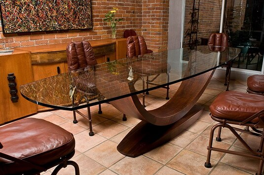Arc glass dining table (front top view)