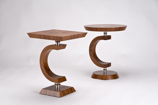 Pair of side tables in claro walnut