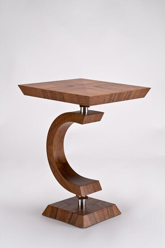 Square side table in claro walnut